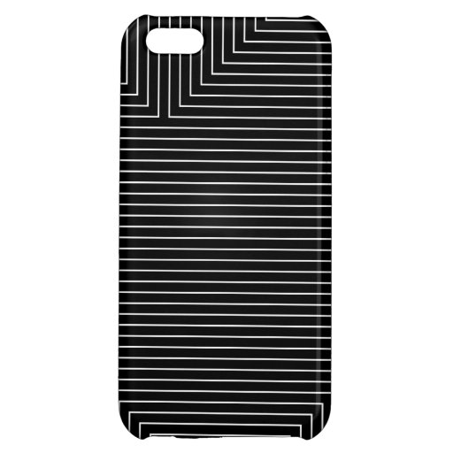 black geometry white lines minimal abstract iPhone 5C cover