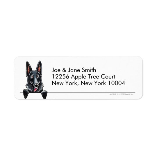 Black German Shepherd Clean & Simple Return Address Label