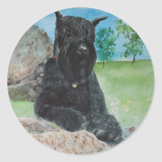 Black Giant Schnauzer Classic Round Sticker