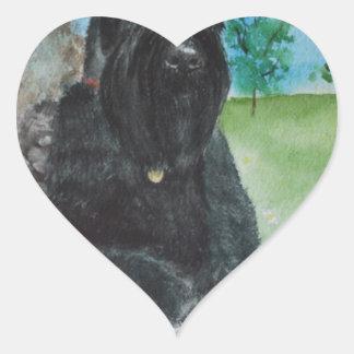 Black Giant Schnauzer Heart Sticker