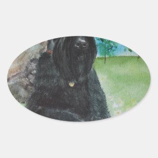 Black Giant Schnauzer Oval Sticker
