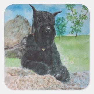 Black Giant Schnauzer Square Sticker