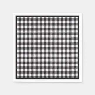 Black Gingham Disposable Napkin