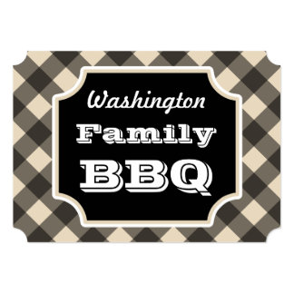 Black Gingham Family Summer BBQ Picnic Invitations