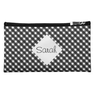 Black Gingham Makeup Bag