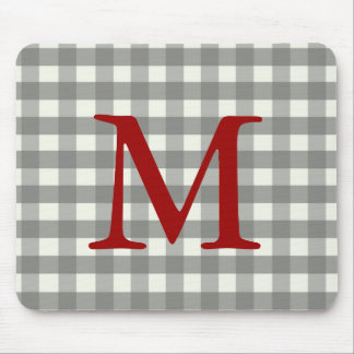 Black Gingham Mouse Pad