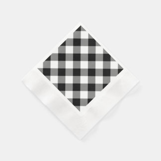 Black Gingham Pattern Paper Napkins