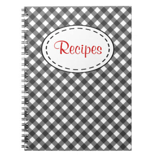 Black Gingham Recipe Notebook
