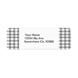 Black Gingham Return Address Label