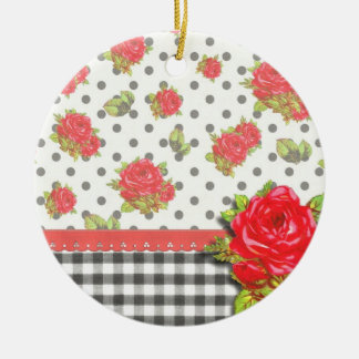 Black Gingham with red roses dots Christmas Ornaments