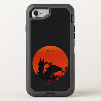Black Giraffes Silhouettes Sun Sunset In Africa OtterBox Defender iPhone 8/7 Case