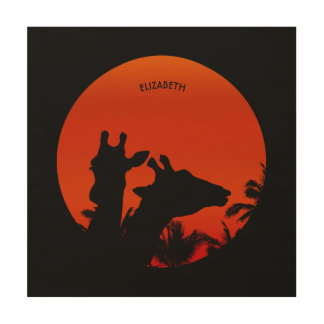 Black Giraffes Silhouettes Sun Sunset In Africa Wood Wall Decor