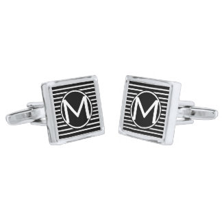 Black GL H Stripe RF Monogrammed Silver Finish Cuff Links