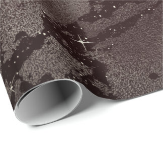 Black Glam Abstract Caffe Noir Metallic Glass Wrapping Paper