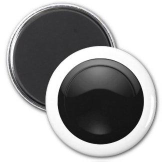 Black Glass 6 Cm Round Magnet