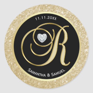 Black Glitter Gold Monogram Letter R Wedding Seals