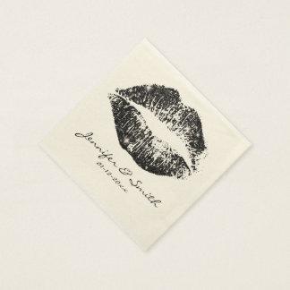 Black Glitter Lips #2 Paper Napkins