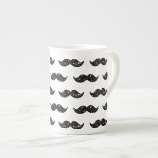 Black Glitter Mustache Pattern Printed Porcelain Mug