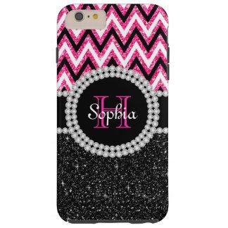 Black Glitter Pink Chevron T iPhone 6 Plus Case