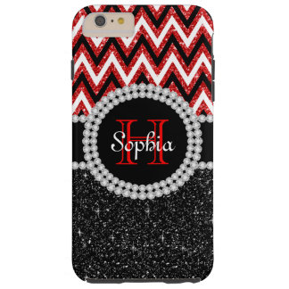 Black Glitter Red Chevron Tough iPhone 6 Plus Case