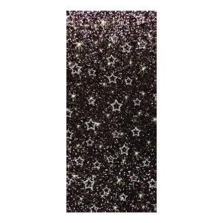 Black glitter stars personalised rack card