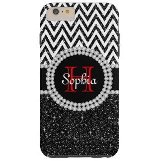 Black Glitter White Chevron T iPhone 6 Plus Case