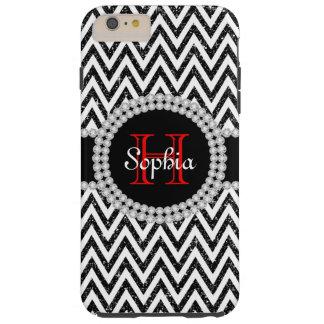 Black Glitter White Chevrons T iPhone 6 Plus Case