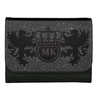 Black Glitz Lion Crest Monogram Women's Wallet