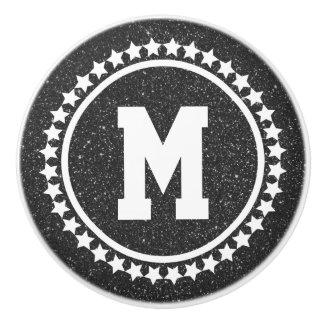 Black Glitz Super Star Monogram Ceramic Knob