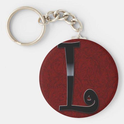 Black Gloss Monogram - L Key Chains