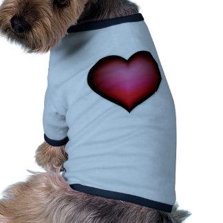 BLACK GLOWING RED HEART SHAPE LOVE GRAPHICS RINGER DOG SHIRT