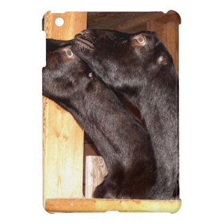 Black goats looking with purpose iPad mini case