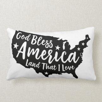 Black God Bless America Patriotic Pillow