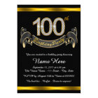 Black Gold 100th Birthday Party Card