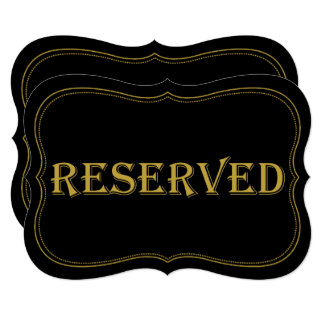 Black & Gold 1920's Gatsby Wedding Reserved Sign Card