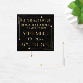 Black Gold 1920s Gatsby Wedding Save The Date Square Business Card