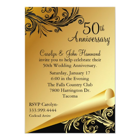 50th Wedding Anniversary Invitation Ideas: Black & Gold 50th Wedding Anniversary Invitation