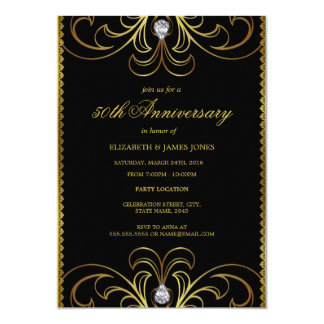 Black & Gold 50th Wedding Anniversary Invite