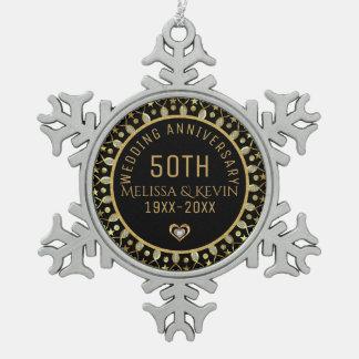 Black & Gold 50th Wedding Anniversary Template Snowflake Pewter Christmas Ornament