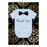 Black Gold and Baby Blue Baby Boy Thank You Cards