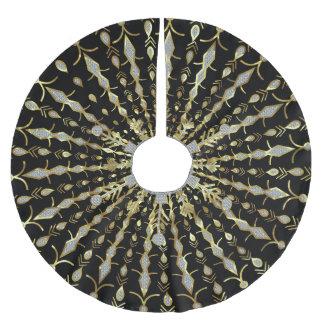 Black Gold And Diamonds Glitter Brushed Polyester Tree Skirt