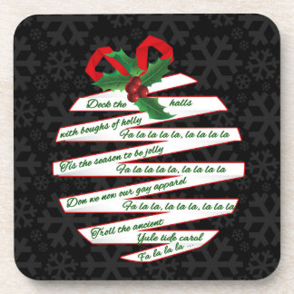 Black Gold and Green Holiday Decor Coaster