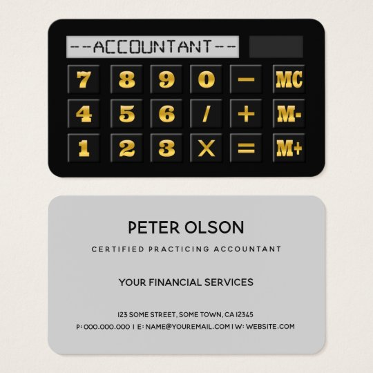 Black Gold and Grey Calculator CPA Tax Accountant Business Card