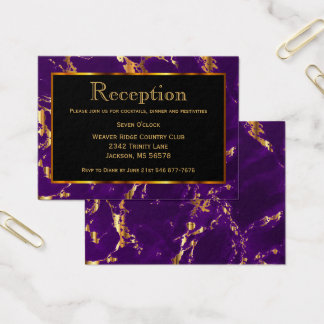 Black, Gold and Purple Marble - Reception Business Card