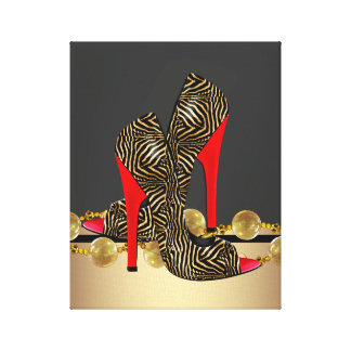 Black Gold and Red Zebra High Heel Shoes Stretched Canvas Prints