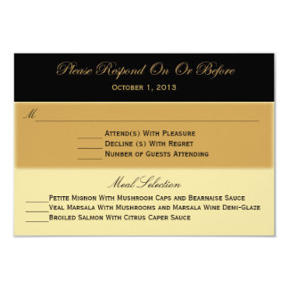 Black Gold and Tan RSVP Response Card