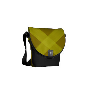 Black Gold And Yellow Plaid Pattern Bag Courier Bag