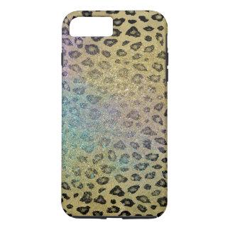 Black Gold Aqua Purple Faux Glitter Leopard Print iPhone 8 Plus/7 Plus Case