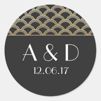 Black & Gold Art Deco 1920's Round Stickers Label