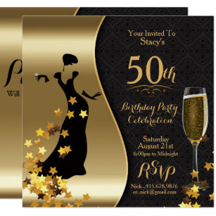 Black Gold Art Deco 50th Birthday Invitation